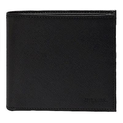 PRADA SAFFIANO METAL系列壓印LOGO防刮牛皮雙折零錢短夾(黑-8卡)
