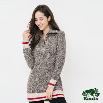 女裝ROOTS - 溫馨佳節拉鍊高領毛衣-灰
