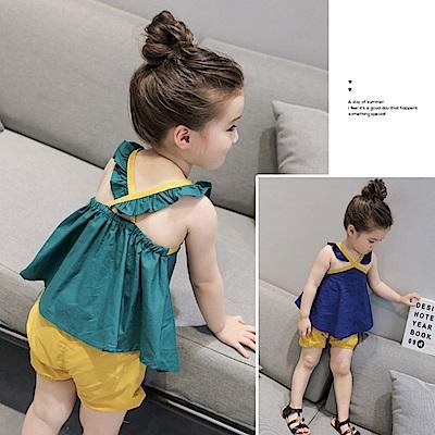 小衣衫童裝    夏季女童寶寶荷葉肩帶背心短褲套裝1070345