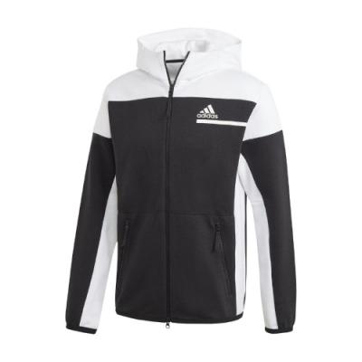 adidas 外套 Full-Zip Hoodie 運動休閒 男款 愛迪達 Z.N.E. 連帽 穿搭 再生材質 黑 白 GM6533