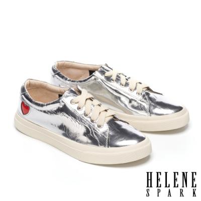 休閒鞋 HELENE SPARK 酷炫金屬牛皮綁帶厚底休閒鞋-銀