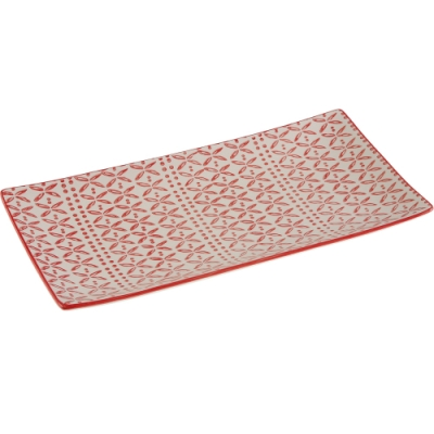 《VERSA》長方淺餐盤(葉點紅30cm)