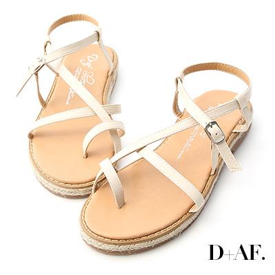 D+AF 自在夏日.交叉設計草編平底涼鞋*米白