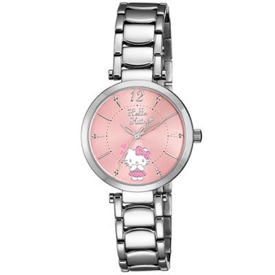 HELLO KITTY 凱蒂貓 水玉點點甜美手錶-粉紅x銀/32mm