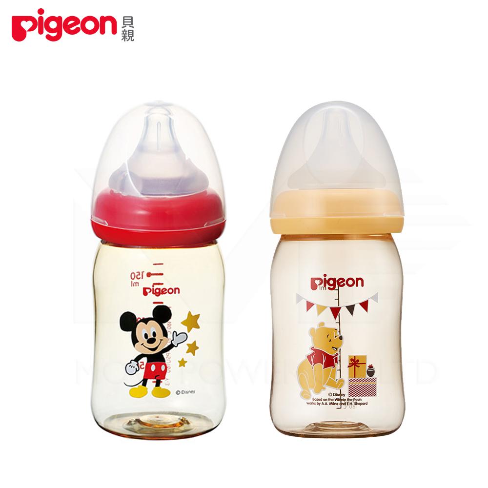 【任選】日本《Pigeon 貝親》迪士尼寬口PPSU奶瓶-米奇/維尼【160ml】