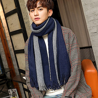 Decoy 純色條紋 都會男女中性保暖圍巾 藍