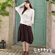 betty's貝蒂思 大口袋格紋鬆緊腰圍長裙(暗紅色)