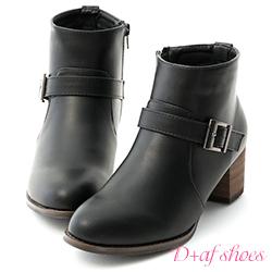 D+AF 時髦個性.金屬單釦環中跟短靴*黑