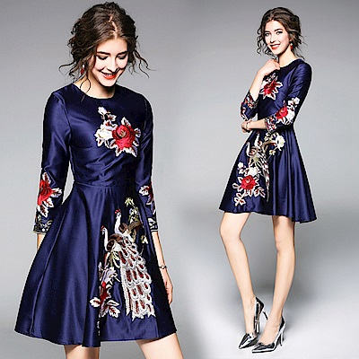 緞面重工刺繡長袖禮服洋裝M-2XL-M2M