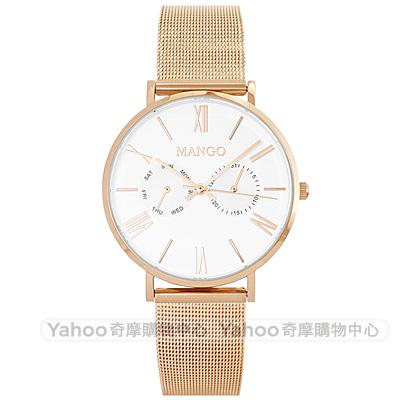 MANGO 羅馬時標米蘭帶時尚手錶-白X玫瑰金/37mm