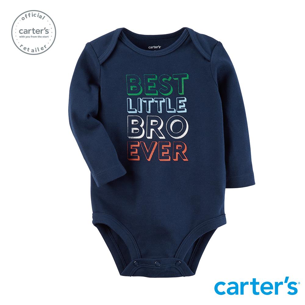 Carter's台灣總代理 趣味圖文海軍藍長袖包屁衣