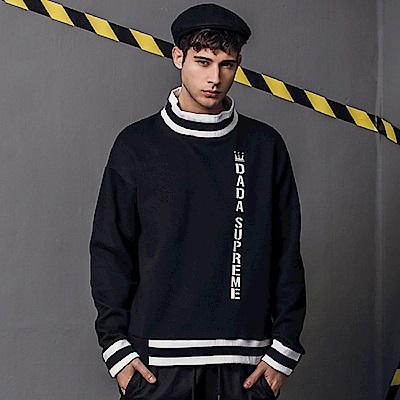 DADA SUPREME 前衛造型條紋領衛衣-男-黑