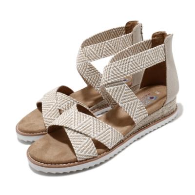Skechers 涼鞋 Desert Kiss 羅馬鞋 女鞋 BOBS 公益捐贈 泡棉鞋墊 赤足 棕 白 113114NTW