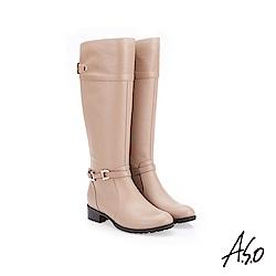 A.S.O 簡約飾釦 側拉鍊設計真皮長靴 深卡其