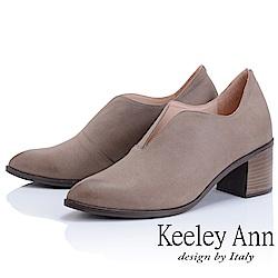 Keeley Ann 簡約百搭~MIT波浪鞋緣粗中跟全真皮踝靴(可可色)