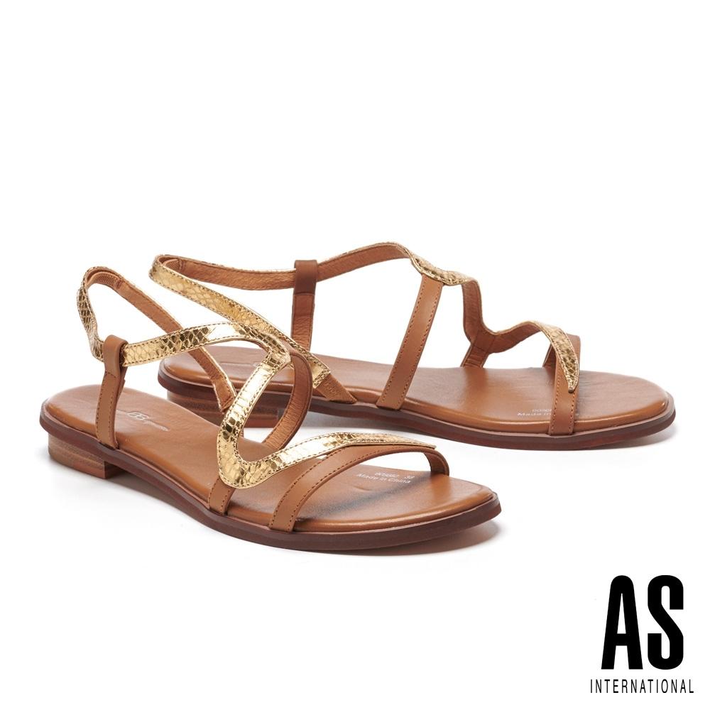 涼鞋 AS 金屬蛇紋S曲線全真皮低跟涼鞋-咖