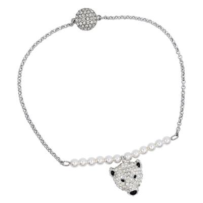 SWAROVSKI 施華洛世奇 POLAR璀璨水晶北極熊造型銀色手環手鍊
