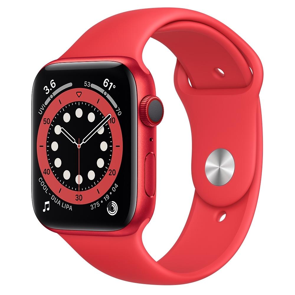 Apple Watch Series 6 (GPS+行動網路) 44mm 紅色鋁金屬錶殼+紅色錶帶(M09C3TA/A)