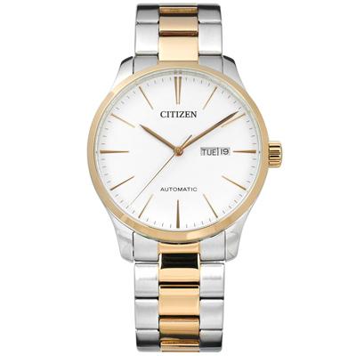 CITIZEN 星辰表 自動上鍊日期星期日本機芯機械錶不鏽鋼手錶-白x鍍香檳金/40mm @ Y!購物