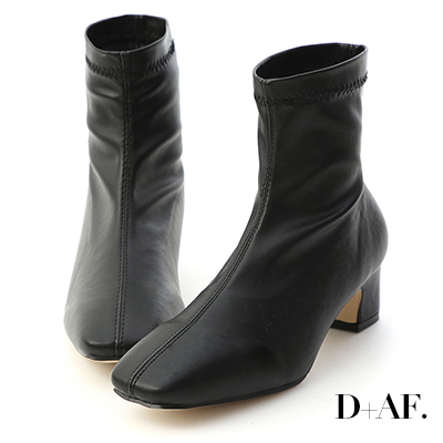 D+AF 好評印象.復古方頭車線中跟短靴*黑