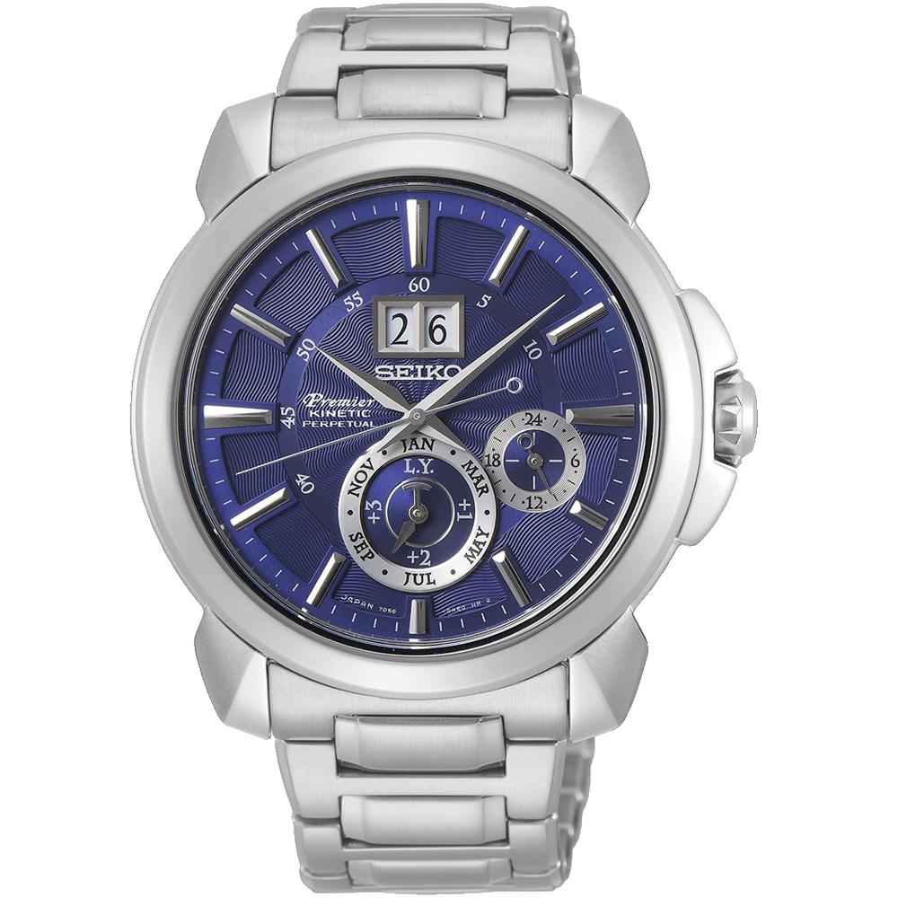 SEIKO Premier 人動電能萬年曆腕錶(SNP161J1)藍/43mm