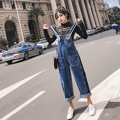 DABI 韓系寬松顯瘦吊帶褲牛仔背帶褲套裝無袖褲裝