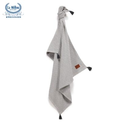 【La Millou】 Tender 100%純棉針織毯(民族風)93x100cm-原野灰-嬰兒毯