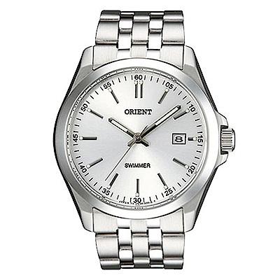 ORIENT東方錶 簡單生活線條時標石英腕錶(SUND6003W0)-銀白面x36mm