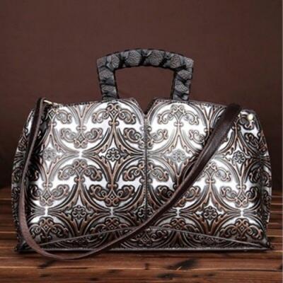 米蘭精品 手提包真皮肩背包-手工擦色復古壓花女包情人節生日禮物3色73my2
