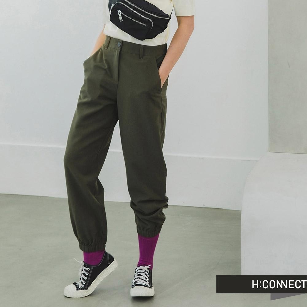H:CONNECT 韓國品牌 女裝 -純色鬆緊直筒縮口褲-綠