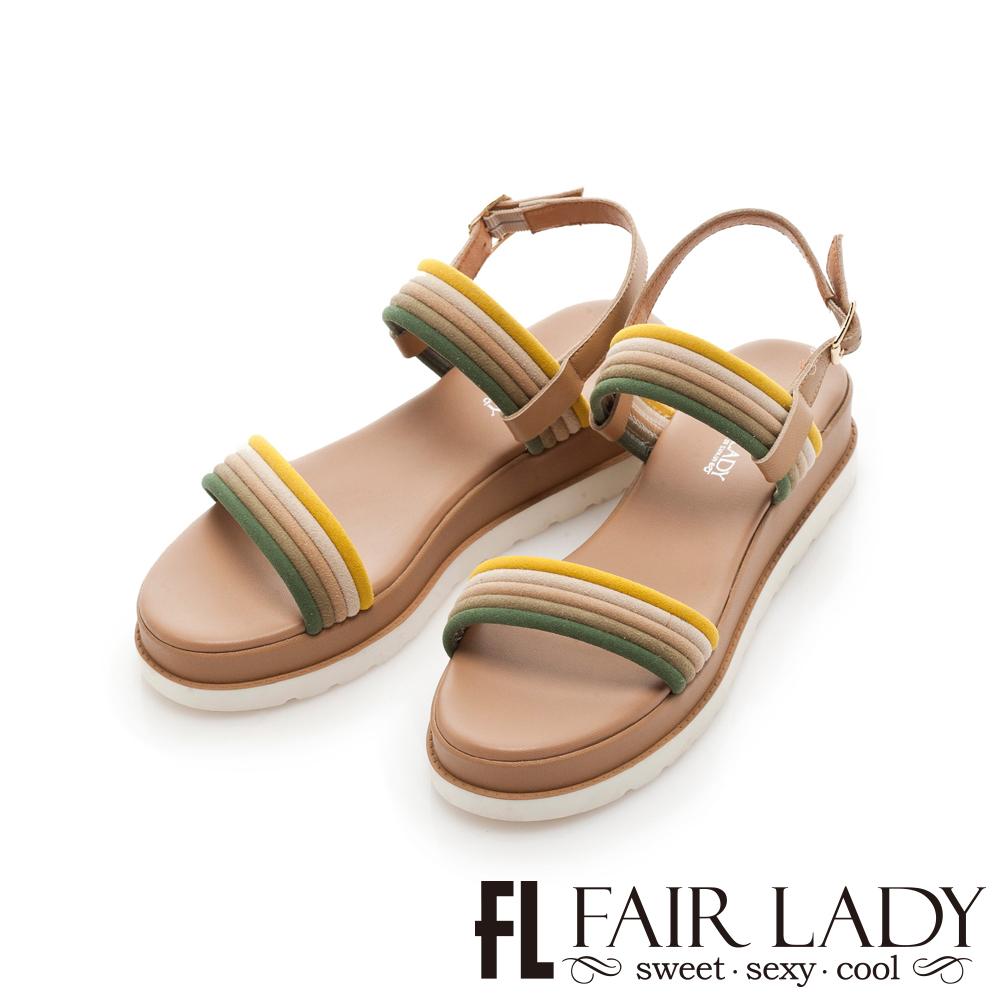 Fair Lady 跳色線條一字厚底休閒涼鞋 綠