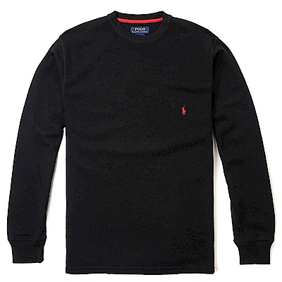 Polo Rlaph Lauren 經典刺繡小馬針織棉質毛衣-黑色