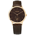 CITIZEN 獨立小秒針 礦石強化玻璃 日本機芯 壓紋真皮手錶-褐x玫瑰金/39mm