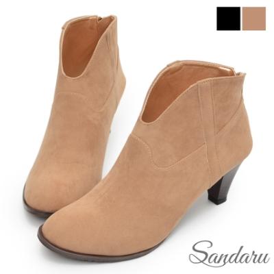 山打努SANDARU-踝靴 大V口麂皮後拉鍊中跟短靴-棕