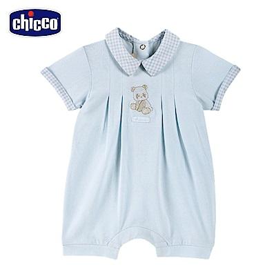 chicco-藍格熊-有領後開短袖兔裝