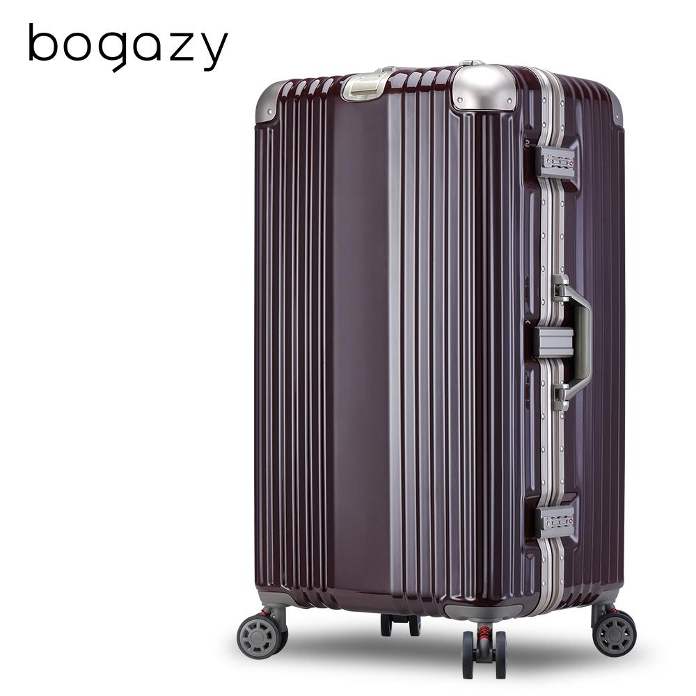 Bogazy 星绽淬鍊 30吋胖胖箱編織紋鋁框行李箱(暗紅金)