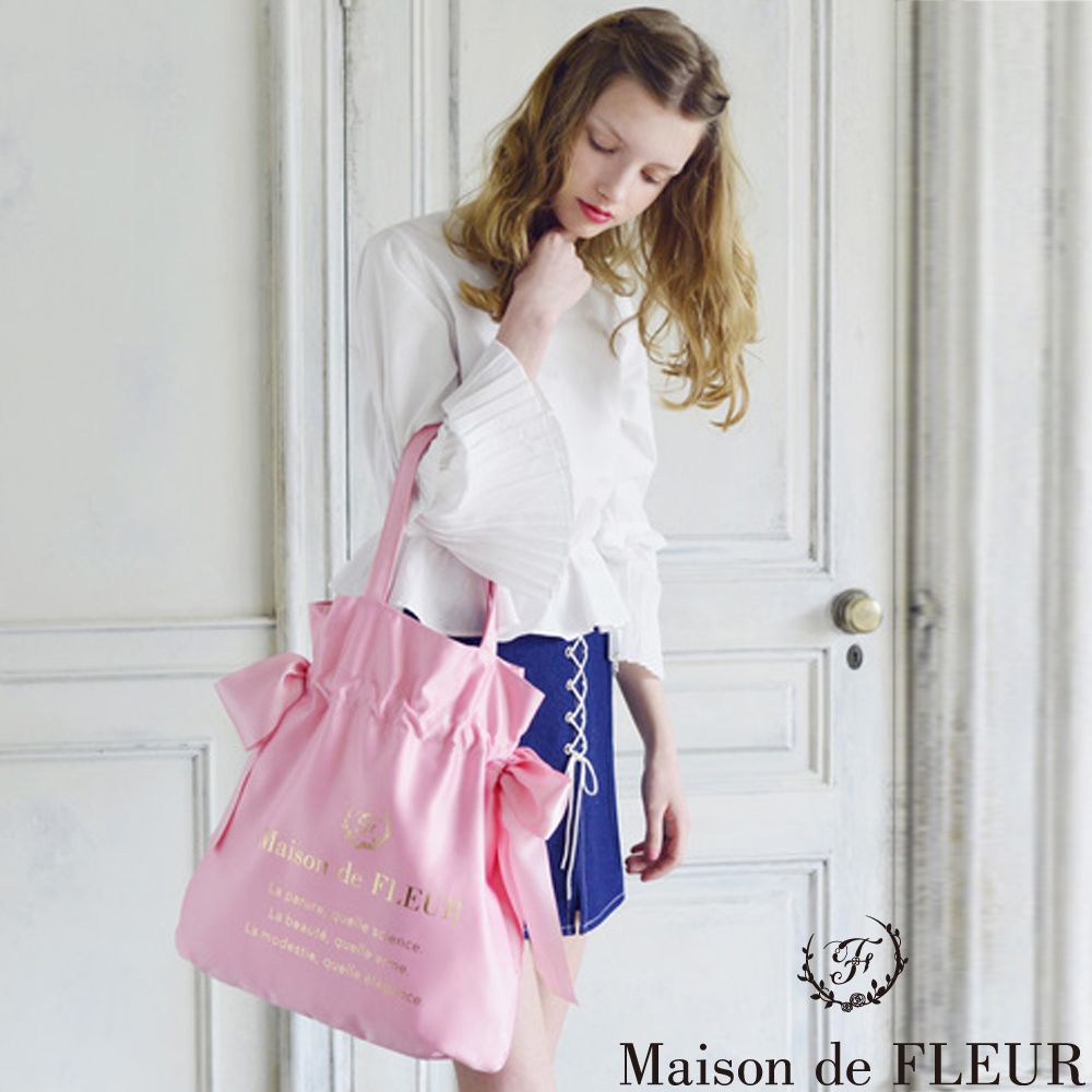 Maison de FLEUR  光澤感側邊綁帶燙金LOGO手提袋 @ Y!購物