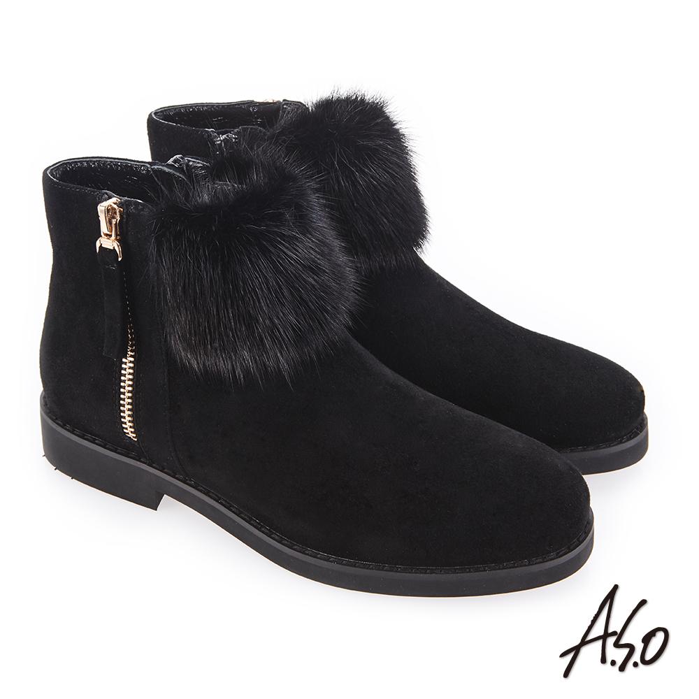 A.S.O 夢幻主義 異材質拼接毛球裝飾靴 黑
