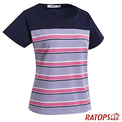 瑞多仕 女款 條紋雞心短袖排汗休閒衣_DB8961 粉紫/白/桃粉紅/暗藍灰色