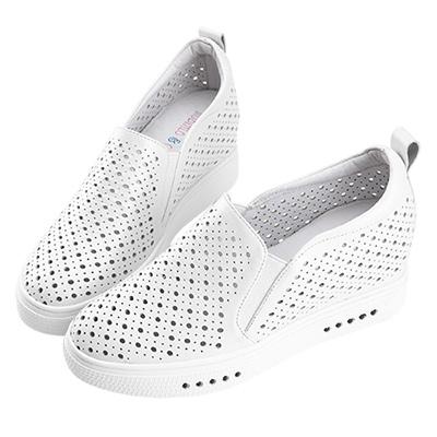 Robinlo 經典圓形沖孔內增高休閒鞋 白