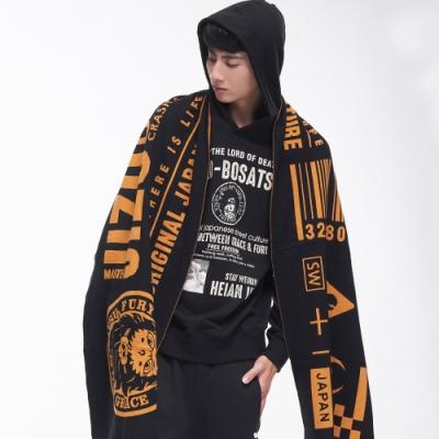 地藏小王 BLUE WAY - 地藏大文字針織圍巾(黑x黃)