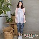 betty's貝蒂思 潮流拼接刷破牛仔褲(深藍)