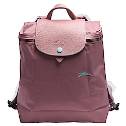 LONGCHAMP 經典Collection系列刺繡摺疊暗釦/拉鍊後背包(粉紅色)