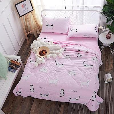 BUNNY LIFE 貓咪粉-雙人-水洗舒柔床包涼被組