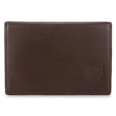 DAKS 經典皇家徽章素面皮革紳士證件夾-咖啡色