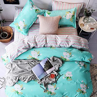 Goelia  加大 親膚棉感活性印染涼被床包組-薔薇之戀