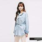 H:CONNECT 韓國品牌 女裝 - 腰間綁結牛仔襯衫-藍
