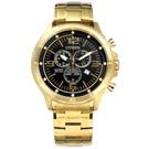 CITIZEN 星辰表 三眼日期防水不鏽鋼手錶-黑x鍍金/48mm