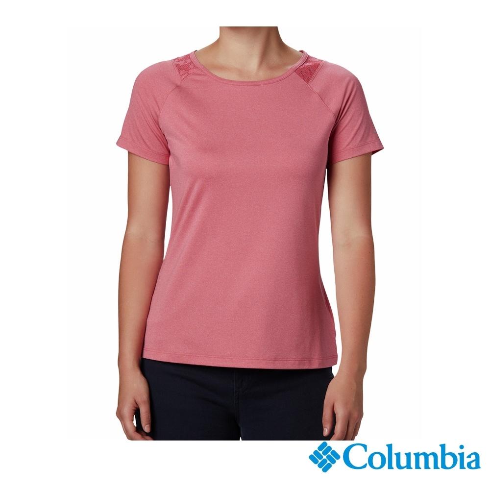 Columbia 哥倫比亞 女款- 防曬50快排短袖排汗衫-桃紅 UAR23460FC