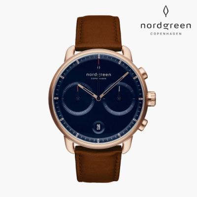 Nordgreen Pioneer 先鋒 玫瑰金系列 復古棕真皮錶帶手錶 42mm